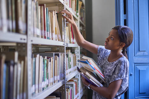 Young woman checking the books at the bookshelves at National library, Maputo, Mocambique - VEGF00392