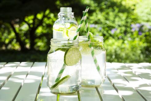 Two glasses of lime-mint lemonade on garden table - LVF08124