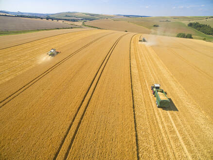 Aerial landscape view of combine harvesters in sunny golden barley field - JUIF01985