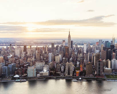 Aerial view of New York City skyline and sunset, New York, United States - BLEF08880
