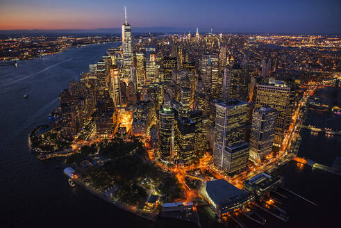 Aerial view of New York cityscape at night, New York, United States - BLEF08892