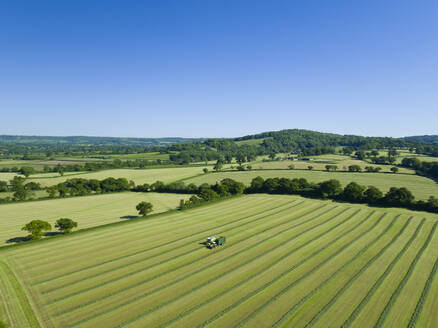 Aerial view of forage harvester cutting grass silage crop in field and filling tractor trailer - JUIF02212