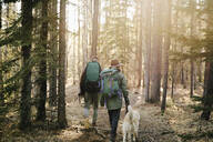 Couple with dog hiking in woods - HEROF37148