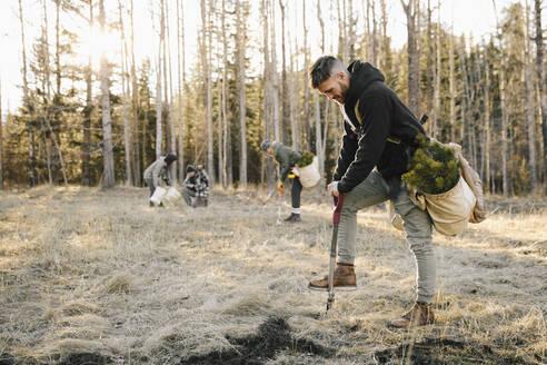 Male volunteer planting trees in woods - HEROF37154