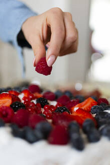 Close-up of woman preparing a cake with wild berries - GIOF06659