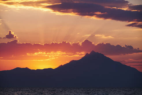 Sunrise over Athos Mountain view from the sea , Halkidiki, Greece - BZF00497