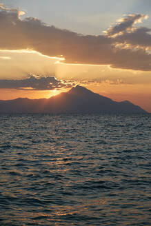 Sunrise over Athos Mountain view from the sea , Halkidiki, Greece - BZF00500
