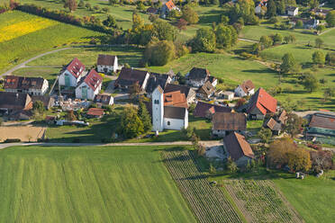 Germany, Baden-Wurttemberg, Aerial view of village and fields - SHF02210