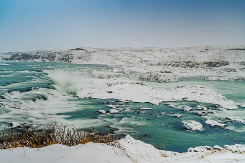 Iceland, South Iceland, Urridafoss waterfall in winter - TAMF01728
