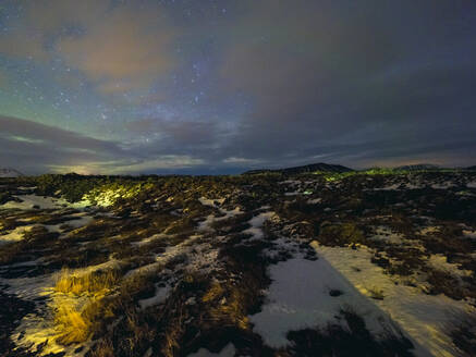 Myvatn region at night with northern lights, North Eastern Iceland, Iceland - TAMF01764