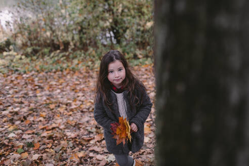 Portrait of little girl collecting leaves in autumn - OGF00040