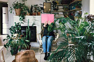 Woman sitting on armchair reading book amidst plants in room at home - MASF13214