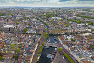 Aerial view of harbor in Leiden cityscape - TAMF01818