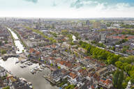 Aerial view of Leiden city with harbor - TAMF01821