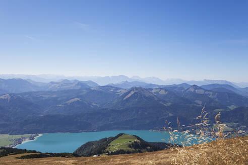 Austria, Salzburg, Salzkammergut, Salzburger Land, view of Wolfgangsee and alps from Schafberg (Watzmann mountain in distance, Schafberg is a very popular sightseeing spot with historic Zahnradbahn) - GWF06158