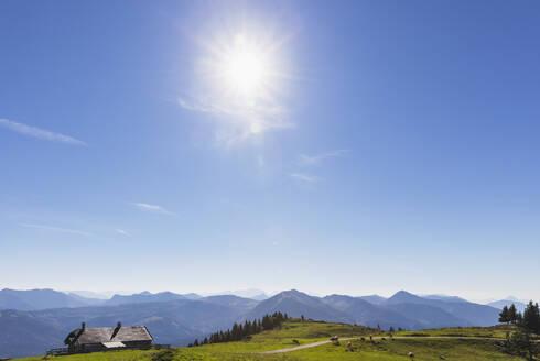 Austria, Alps, Salzburg, Salzkammergut, Salzburger Land, Wolfgangsee, Schafberg region, view of alps, Watzmann mountain in far distance - GWF06173