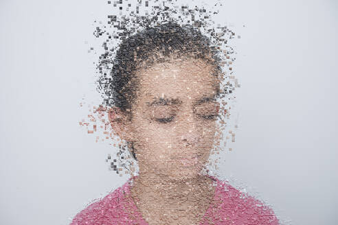 Mixed race boy with pixelated face - BLEF09977