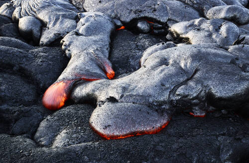 High angle view of lava flowing from Pu'u O'o' at Hawaii Volcanoes National Park - CVF01295