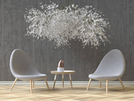 Modern Skandinavian interior with two grey chairs, coffee table and a floral installation, 3D Rendering - ECF01965