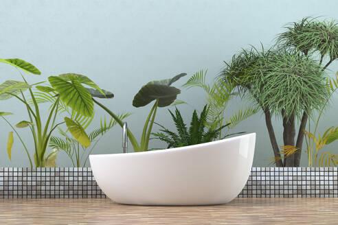 Modern bathtub in bathroom with  tropical plants, 3D Rendering - ECF01968