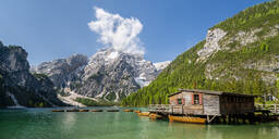 Boathouse at Pragser Wildsee, Braies Dolomites, Alto Adige, Italy - STSF02116
