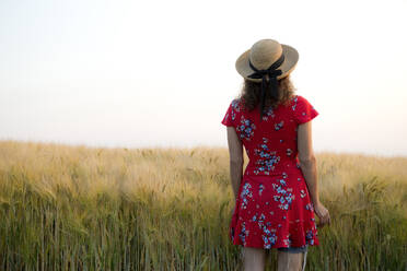 Back view of woman wearing straw hat and red summer dress with floral design standing in front of grain field - FLLF00243