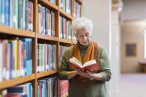 Older mixed race woman reading book in library - BLEF10828