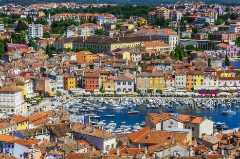 View over Rovinj from church of St. Euphemia, Istria, Croatia - THAF02576