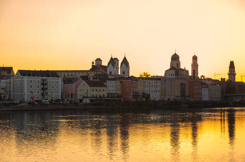 Sunset at Passau in autumn, Bavaria, Germany - JUNF01672