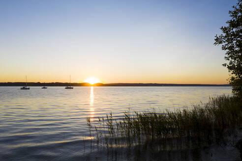 Sonnenutergang am Starnberger See, Fünfseenland, Oberbayern, Bayern, Deutschland, - LHF00656