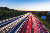 Light trails at a motorway at dusk, Leonberg, Germany - WDF05344