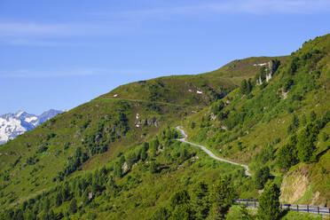 View over Zillertaler mountain road, Tux Alps, Ziller valley, Tyrol, Austria - SIEF08788