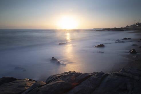 View to the beach at sunset, Matosinhos, Porto, Portugal - FCF01766
