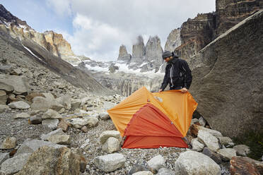 Mountaineer camping at Torres del Paine National Park, Patagonia, Chile - CVF01311