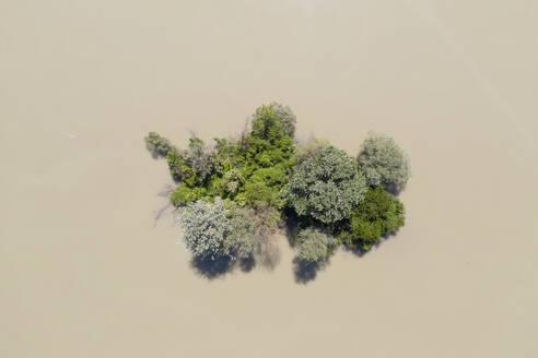Kleine Insel in Isar bei Hochwasser, bei Mamming, Luftbild, Niederbayern, Bayern, Deutschland - SIEF08804