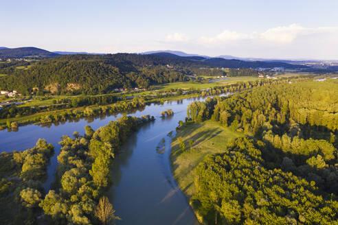 Mündung der Isar in die Donau, Isarmündung, bei Deggendorf, Luftbild, Niederbayern, Bayern, Deutschland - SIEF08810