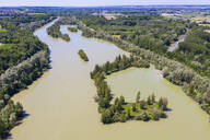 Aerial view of Isar river, Lower Bavaraia, Germany - SIEF08819