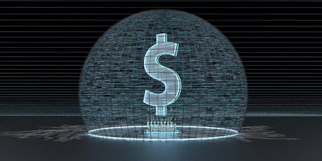 Digital Dollar-Currency, 3D Illustration - ALF00763