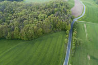 Aerial view of rural road with agricultural fields and forest, Franconia, Bavaria, Germany - RUEF02293