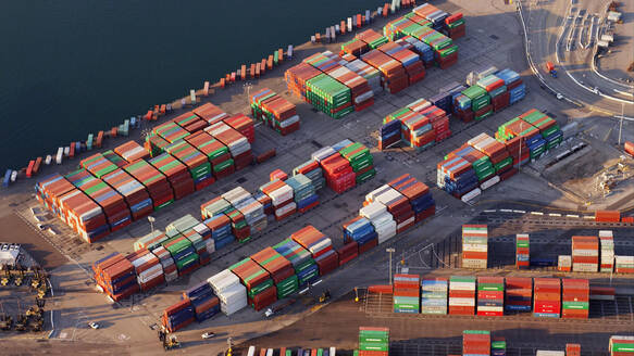 Aerial view of containers in industrial shipyard - BLEF12124