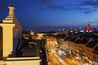 Krakowskie Przedmiescie street and city at evening twilight, Warsaw, Poland - ABOF00428