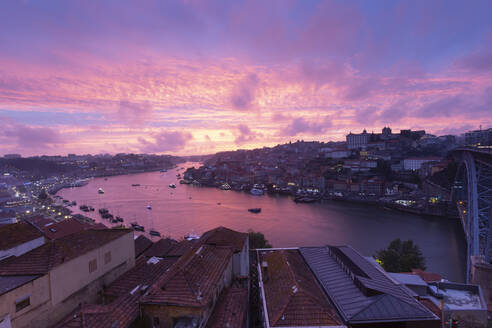 View over Porto and river Douro at dusk, Portugal - FCF01790