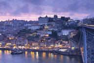 View over Porto and river Douro at dusk, Portugal - FCF01796