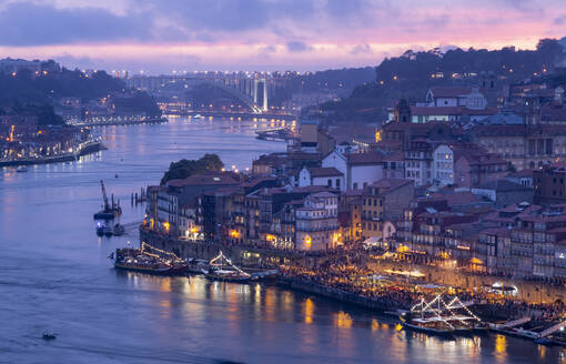 View over Porto and river Douro at dusk, Portugal - FCF01799