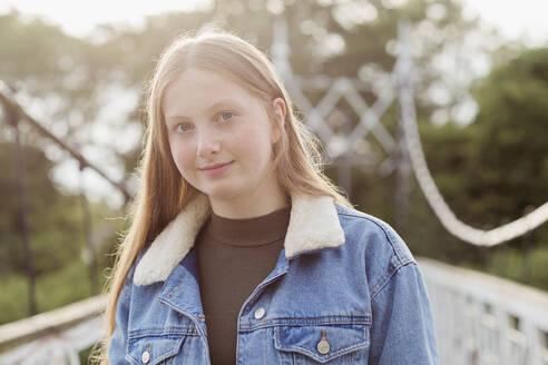 Girl on a bridge Cheshire UK - NMS00366
