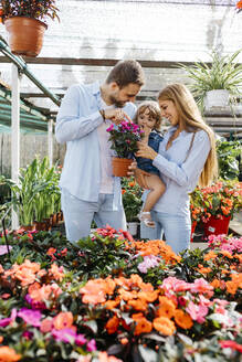 Happy mother, father and daughter buying flowers in a garden center - JRFF03479