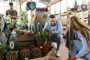 Mother, father and daughter in the cactus area inside a garden center - JRFF03485