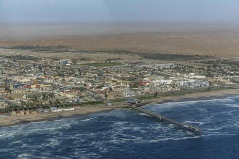 Aerial view of Swakopmund cityscape and beach, Namib Desert, Namibia - BLEF12706