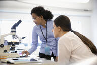 Female scientists working at microscope in laboratory - HEROF37342