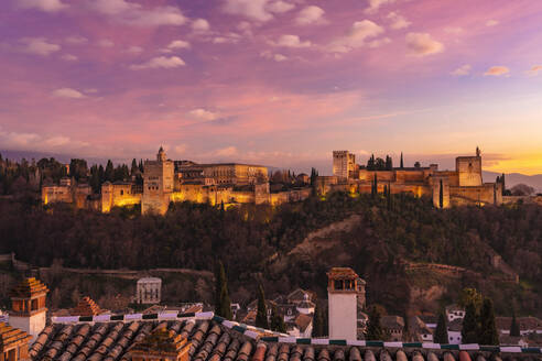 View of Alhambra with Sierra Nevada in the background at sunset, Granada, Spain - TAMF01871